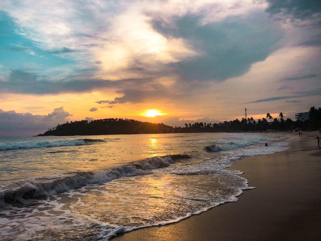 mirissa beach at sunset sri lanka