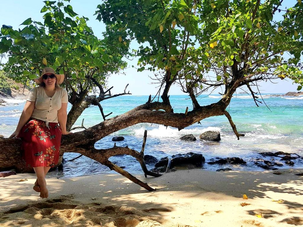 sitting on a tree at secret beach mirissa