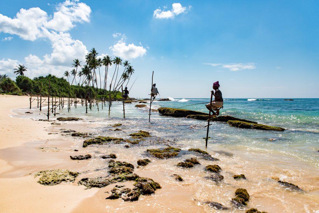 Beautiful beaches in sri lanka - this one has stilt fishermen