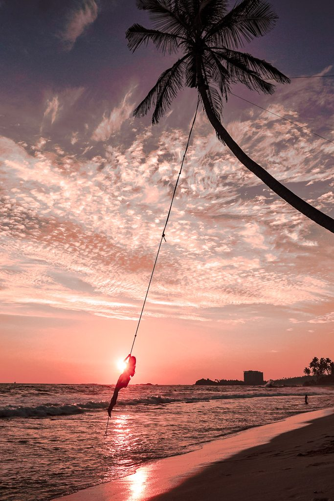 sunset at dalawella beach and the palm rope swing