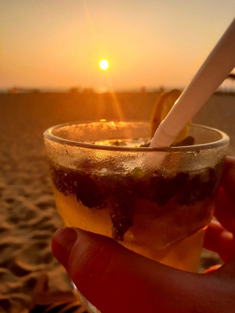 sunset on mirissa beach