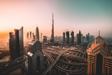 Dubai sunrise cityscape