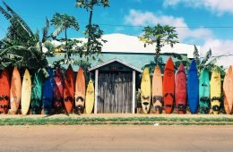 Maui colurful surfboards leant against a wall