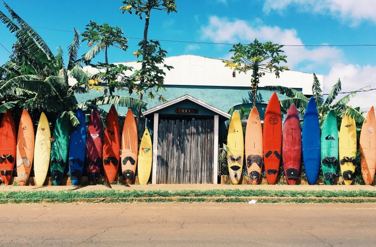 Maui colurful surfboards leant against a wall
