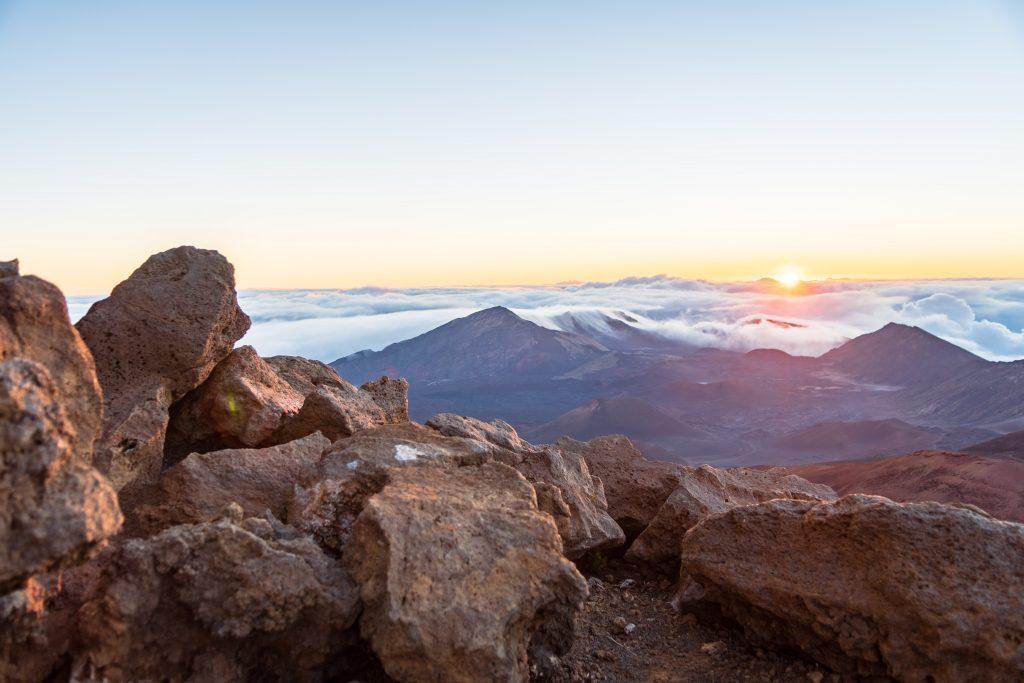 Maui sunrise over volcano