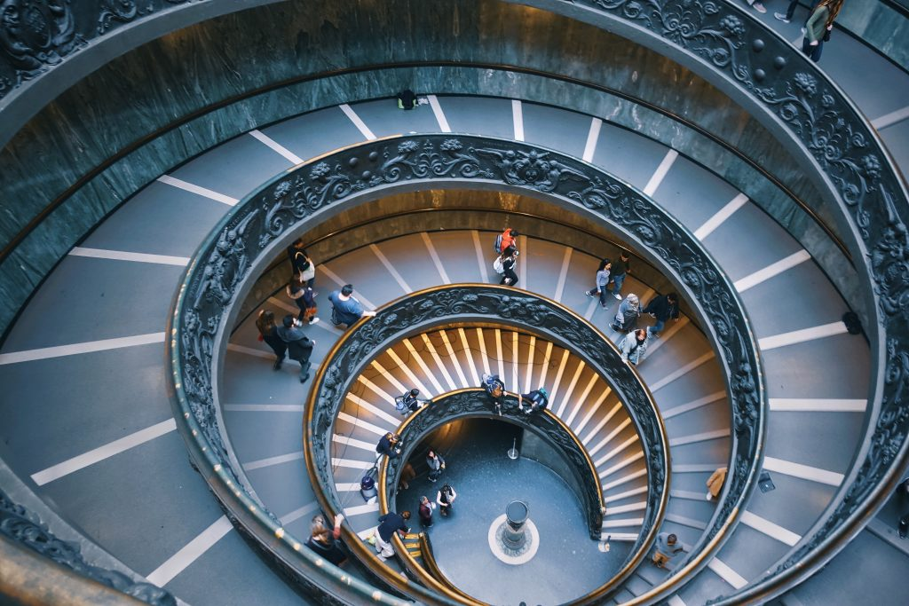 spiral staircase in the vatican museum - essential on your 4 day rome itinerary