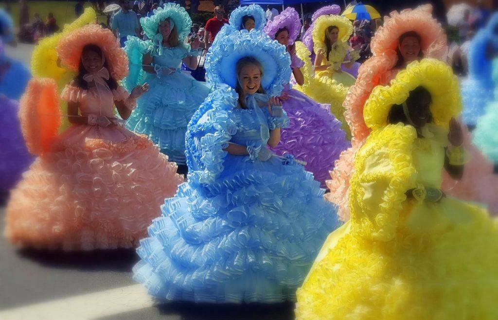 Colourful Azalea Trail Maids wearing dresses which look like flowers