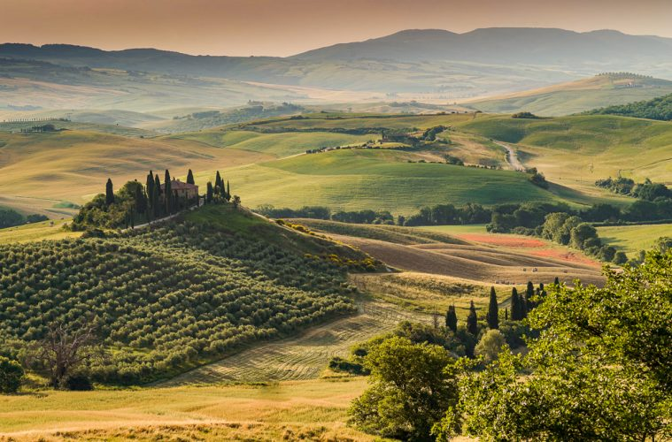 val d'orcia scenery at dawn on a tuscany road trip in italy
