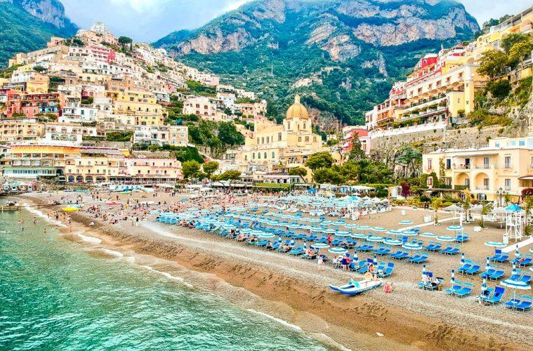 Positano ariel view of the beach amalfi coast