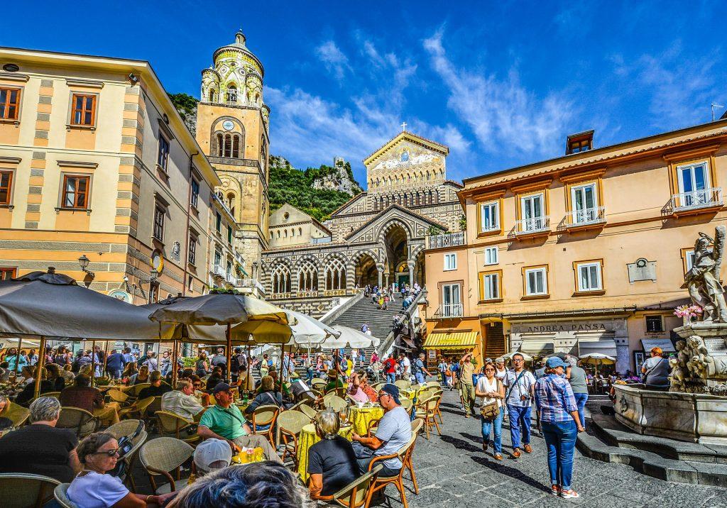 amalfi main square with cathedral amalfi coast
