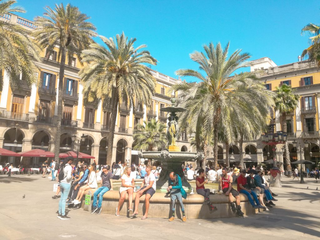 Barcelona street square spain
