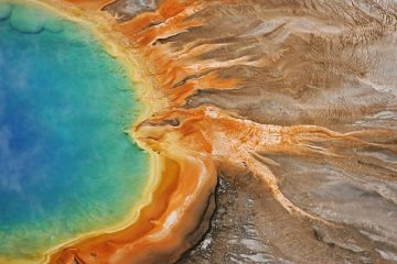 colourful thermal pool at yellowstone national park
