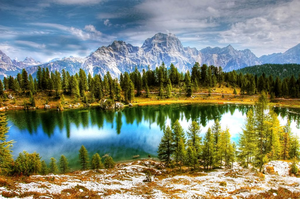 dolomites scenery lakes and mountains in italy