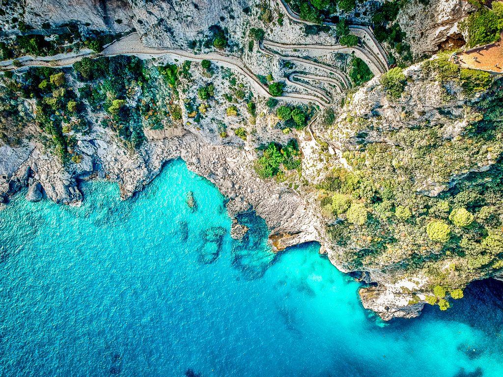 bright coloured ocean on island of capri