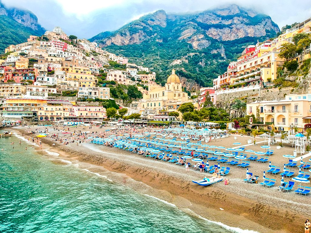 drone view of positano beach italy