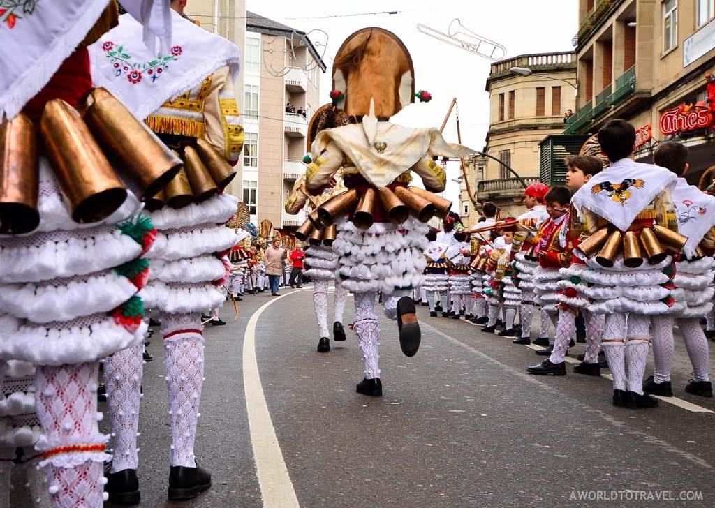 ENTROIDO carnival in spain in winter people in fancy dress
