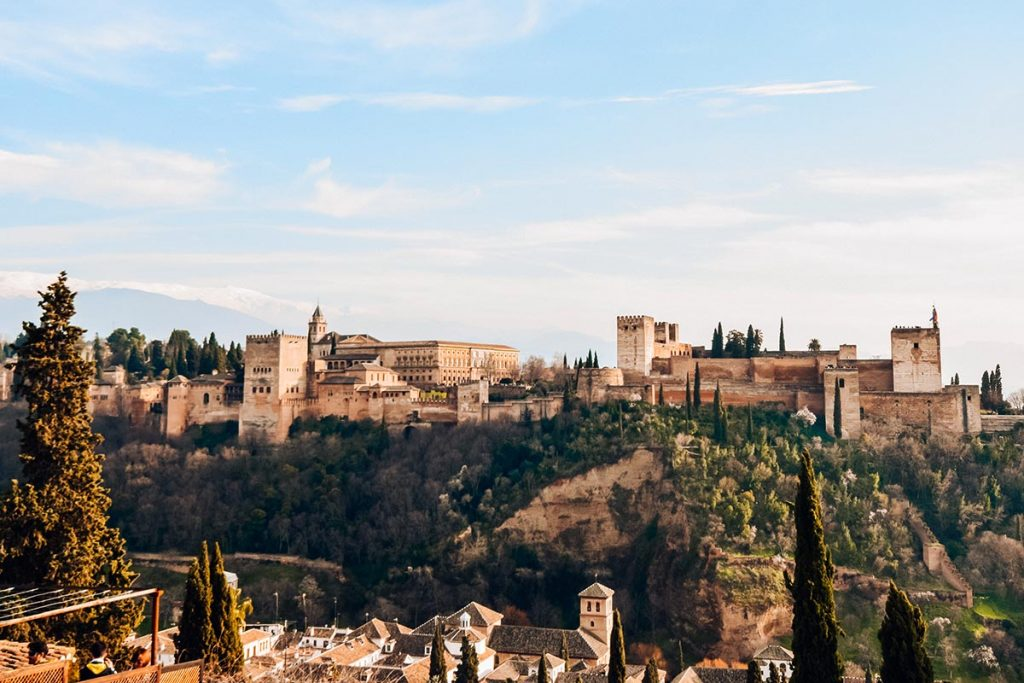 Visiting the Alhambra in winter in spain