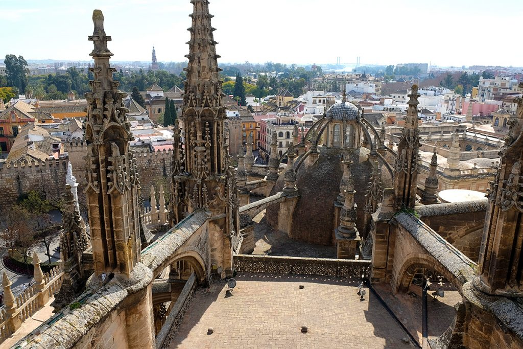 seville cathedral in spain on a winters day