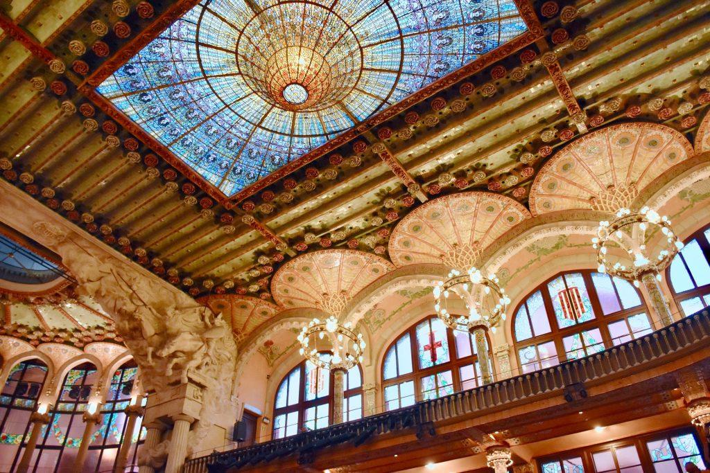 fancy architecture atthe palau de la musica catalana barcelona spain