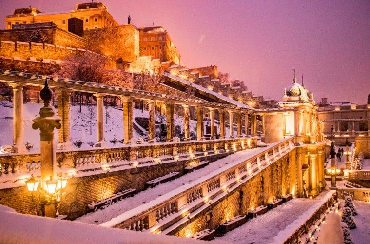 Buda Castle in winter Budapest