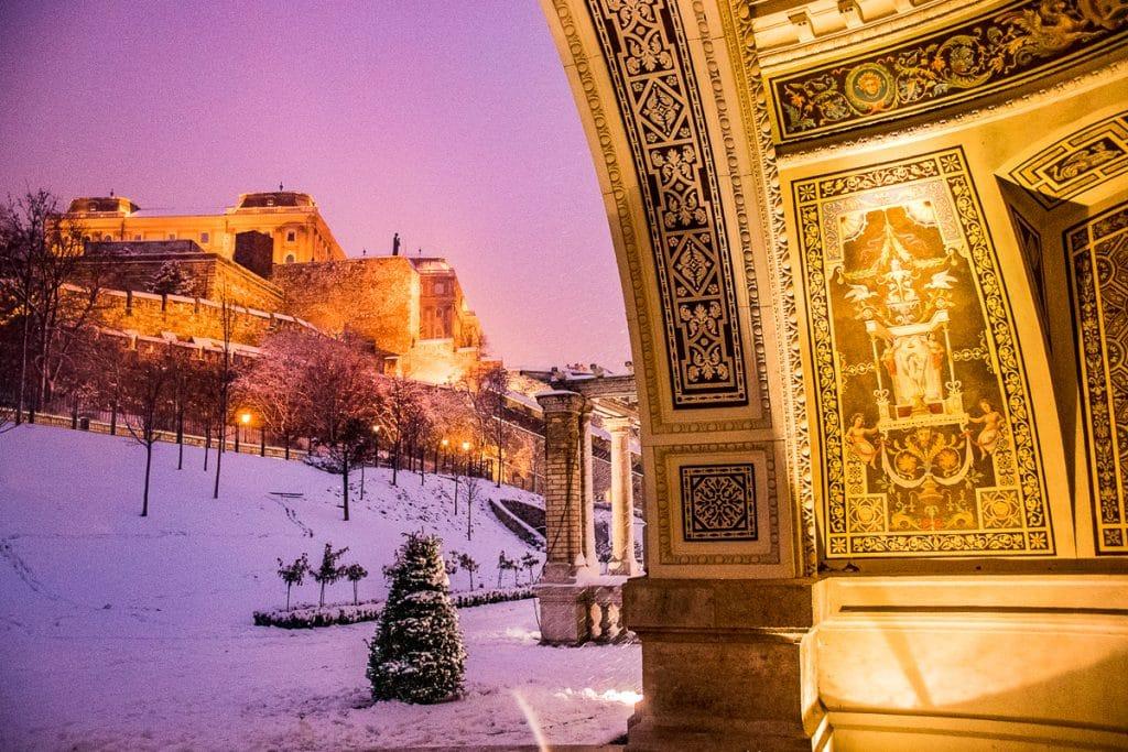 Buda Castle in winter in Budapest