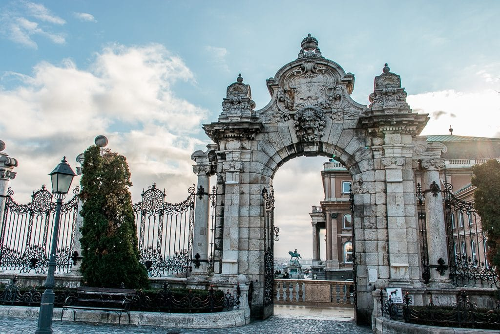 entrance to the Royal Palace in Budapest on a winters day
