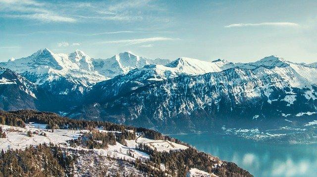 swiss alps near zurich in winter covered in snow