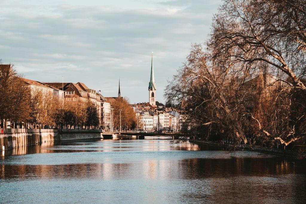 zurich river in winter