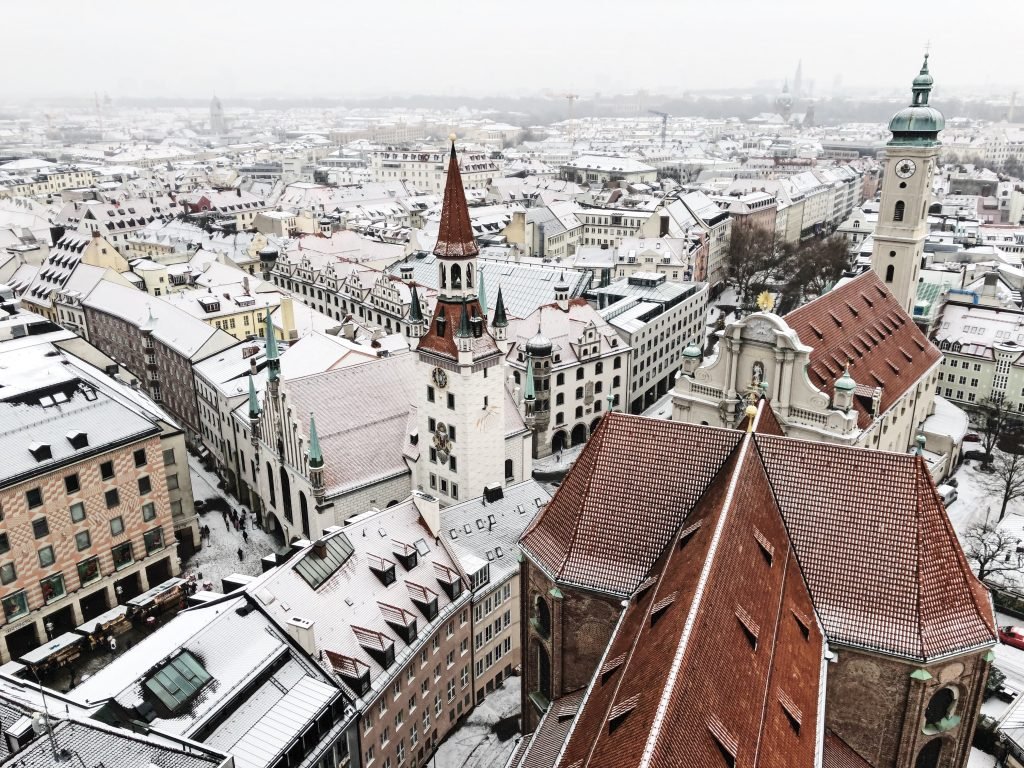 view from st peters on a snowy day in munich
