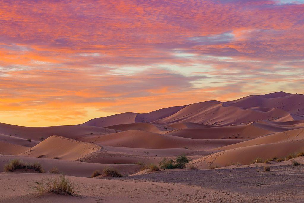 sahara desert near merzouga in morocco at sunrise
