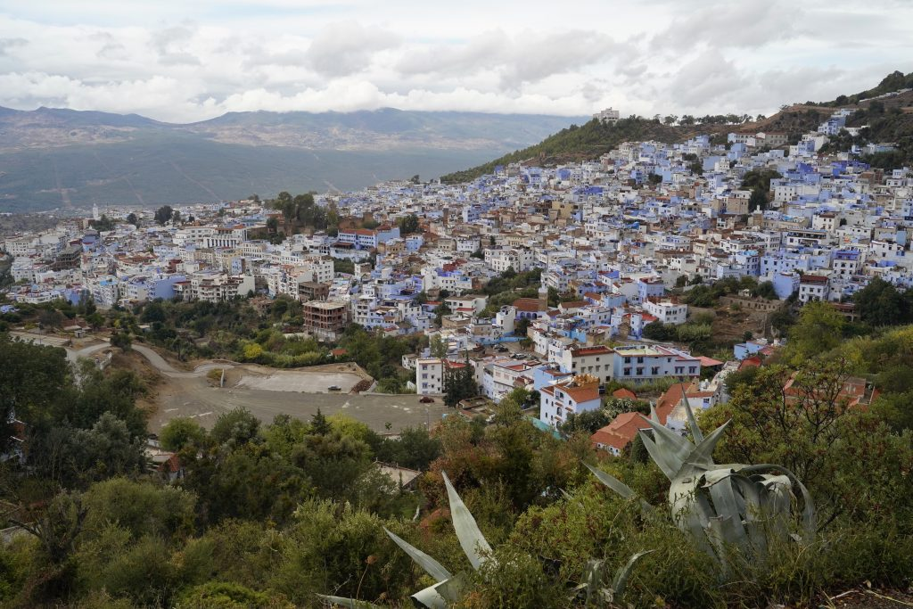 view onto chefchaouen from above - all the houses are blue