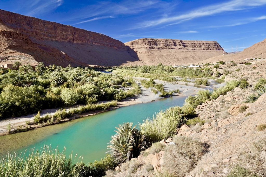 beautiful river and canyon in the anti atlas mountains in morocco