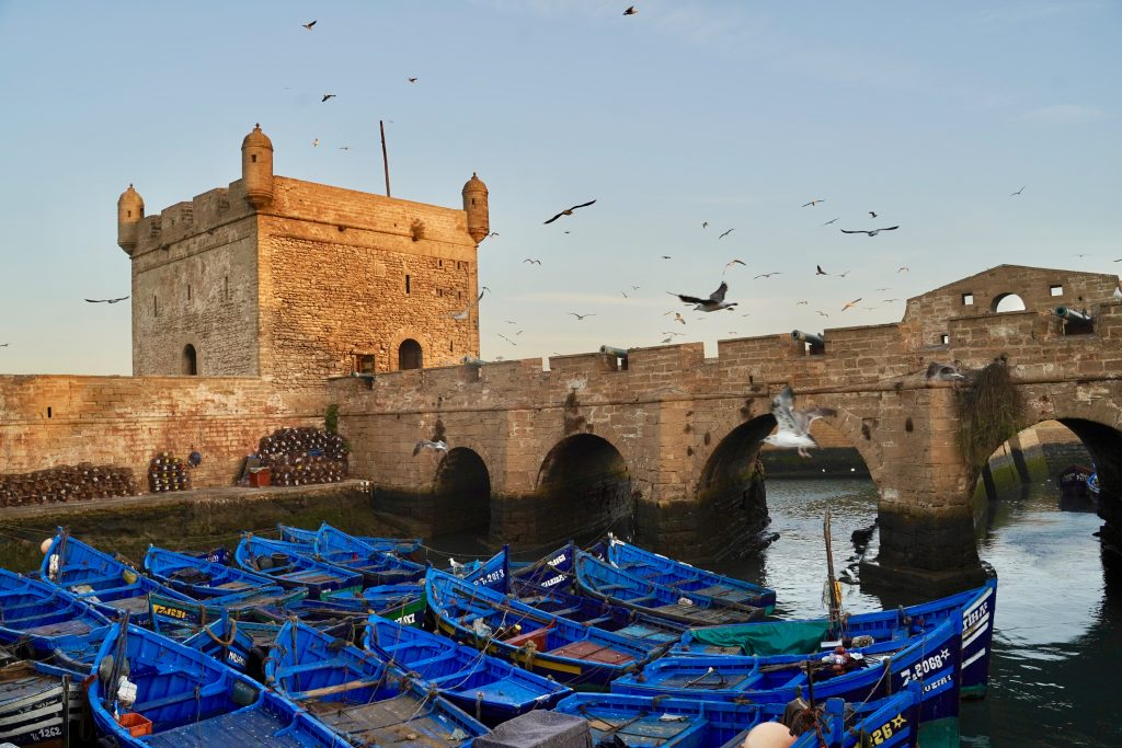 essaouira fort with blue fishing boats in foreground