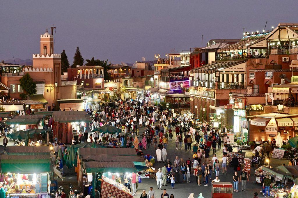 jemaa el 'fna night market from above in marrakech