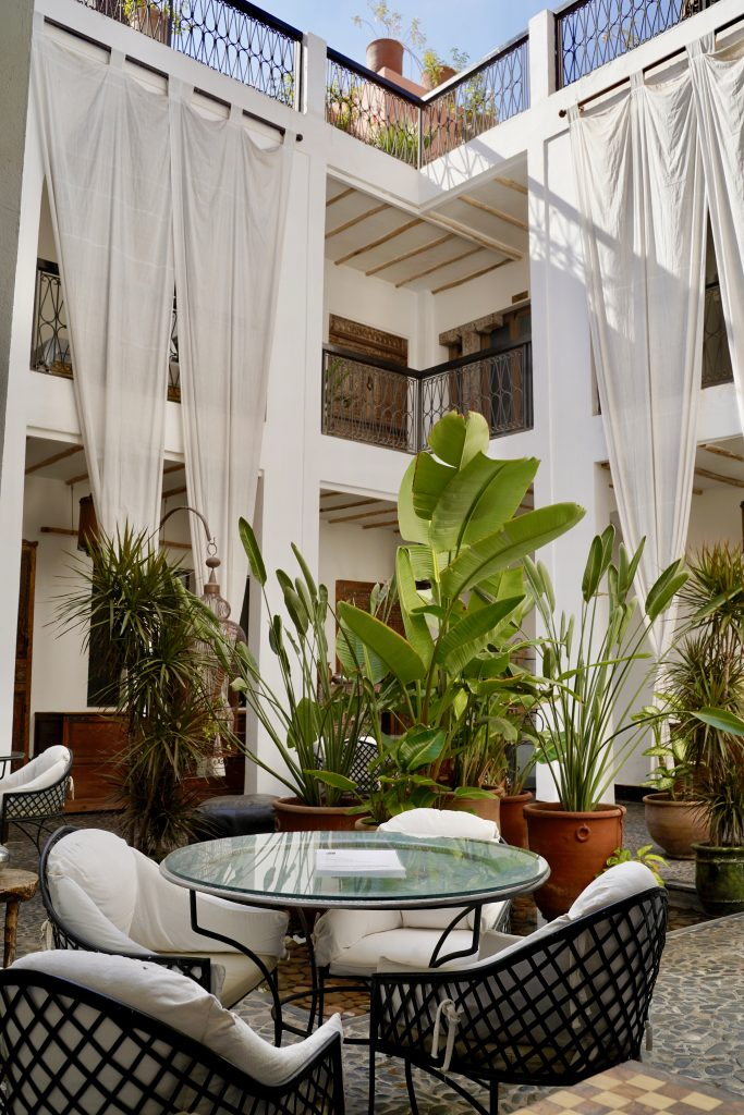 green leafy and white decor at riad bliss