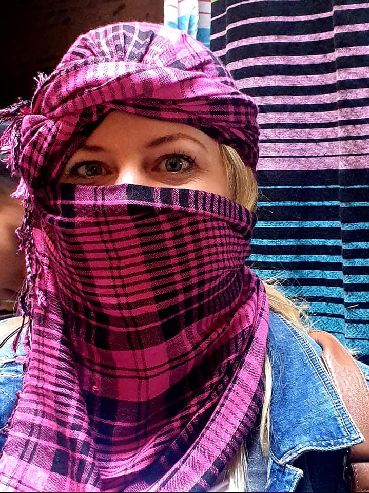 me wearing headscarf in morocco