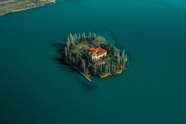 visovac tiny island from above in croatia