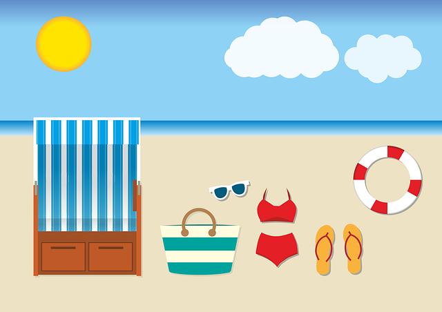 cartoon of beach essentials for your beach packing list