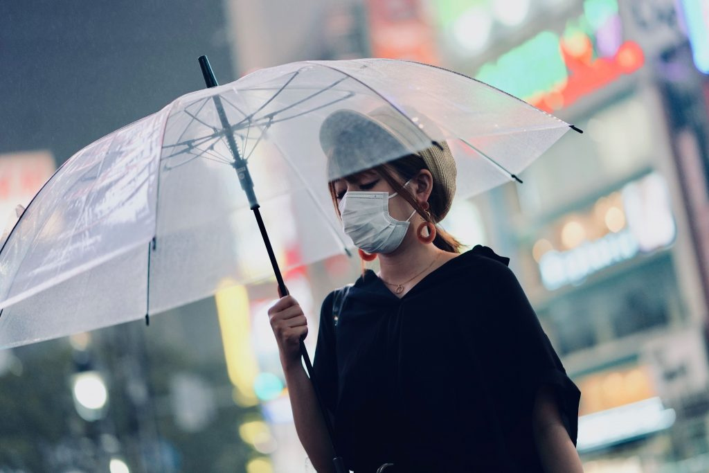 woman wearing a surgical mask to avoid getting coronavirus when travelling