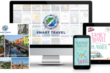 Mock up of the smart travel super bundle with computer ipad and phone screens